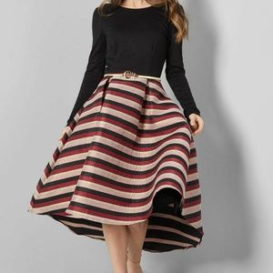 Modcloth Black Striped Visibly Chic Midi Dress